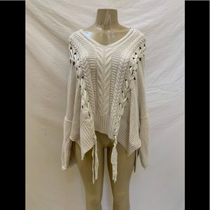 Free People Size XS/S Ivory Oversized Knit Sweater
